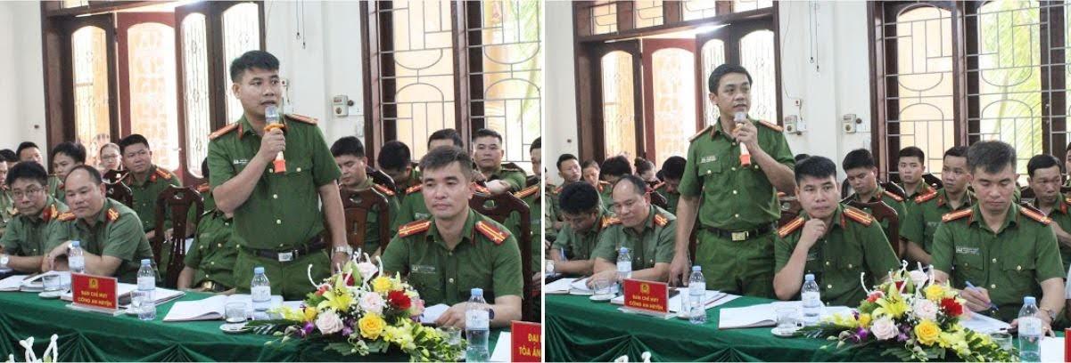 Các đồng chí Phó Trưởng Công an huyện Quỳ Châu báo cáo tình hình, kết quả đạt được trong từng lĩnh vực chuyên môn.