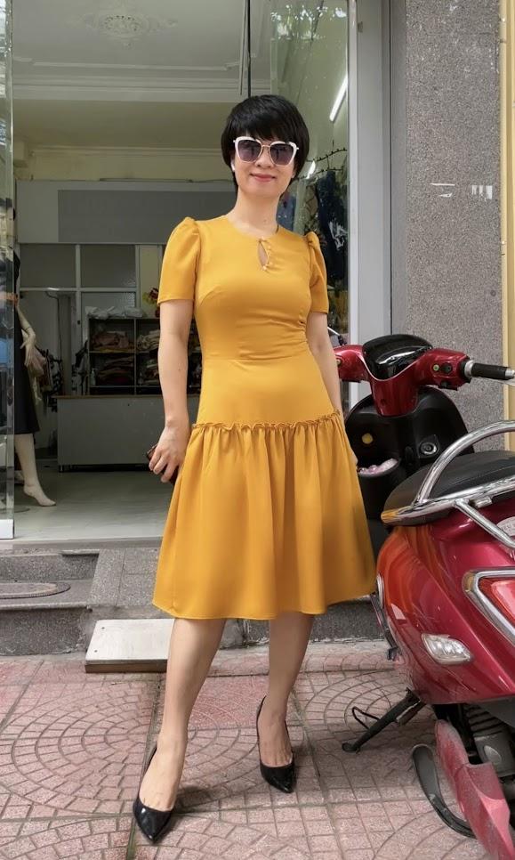 váy xòe midi công sở dạo phố thời trang thủy an lão