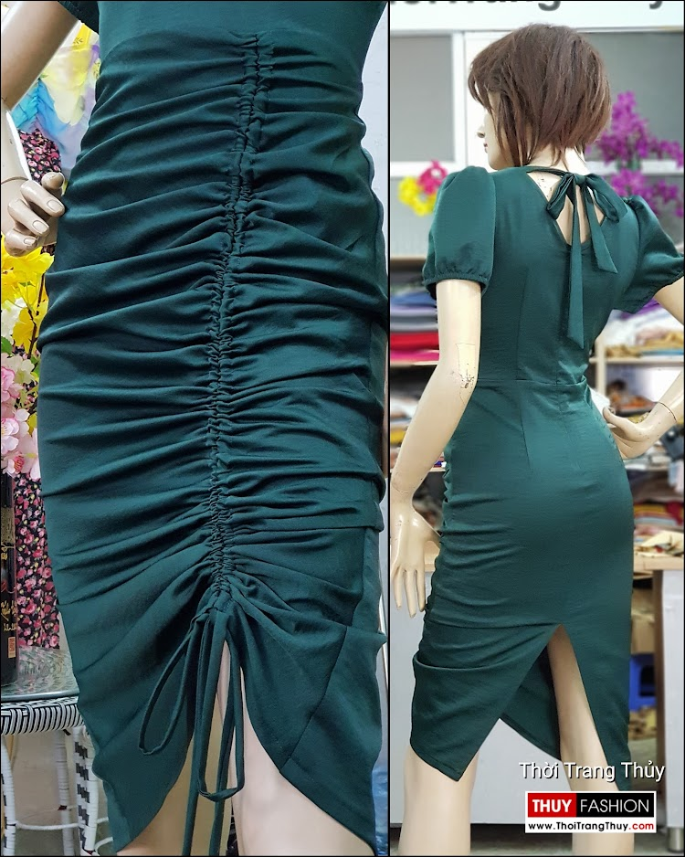 Váy dự tiệc dáng ôm body xếp nhún V721 thời trang thủy nam định