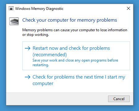 Click on Restart now & check for problems to start the Windows Memory Diagnostic