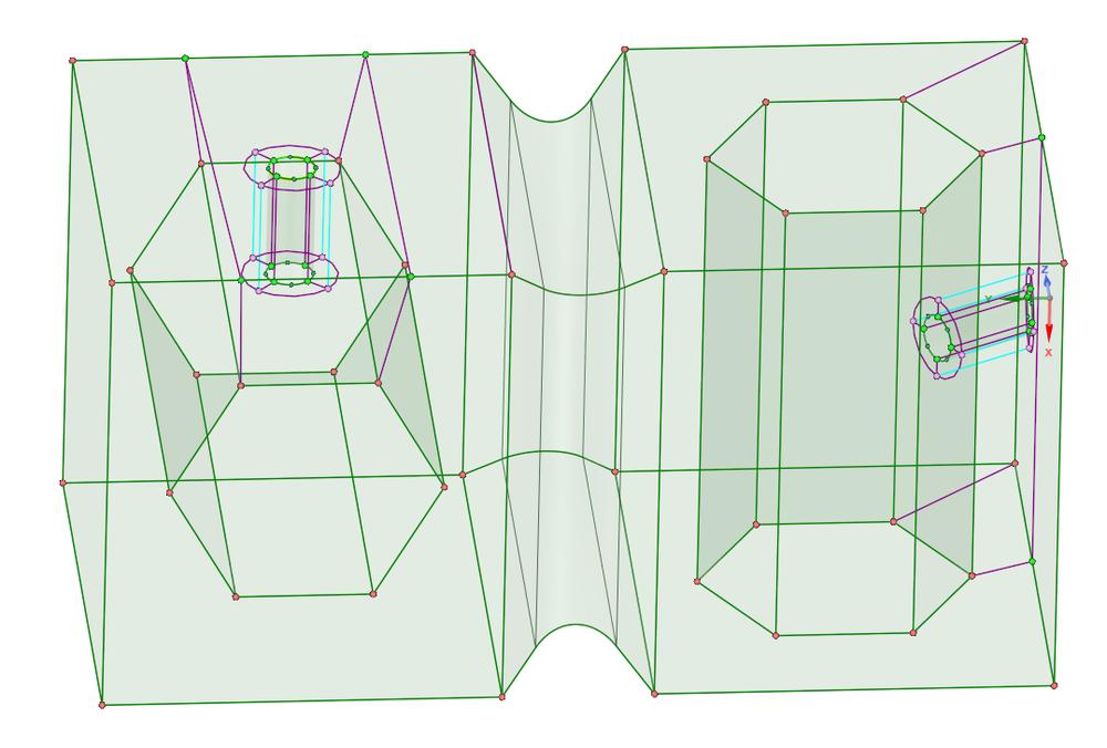 создание блока в зоне цилиндрического отверстия в правой части, добавляем блоки для структурирования сетки вокруг отверстий командой «Layers» («Слои»)