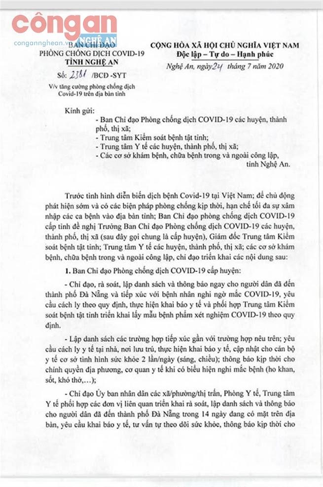 Nghệ An ra thông báo về rà soát, cách ly người dân từng đến Đà Nẵng trong 14 ngày qua