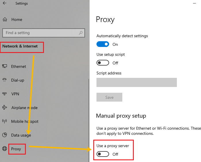 Under Manual proxy setup, turn OFF the switch for Use a proxy server