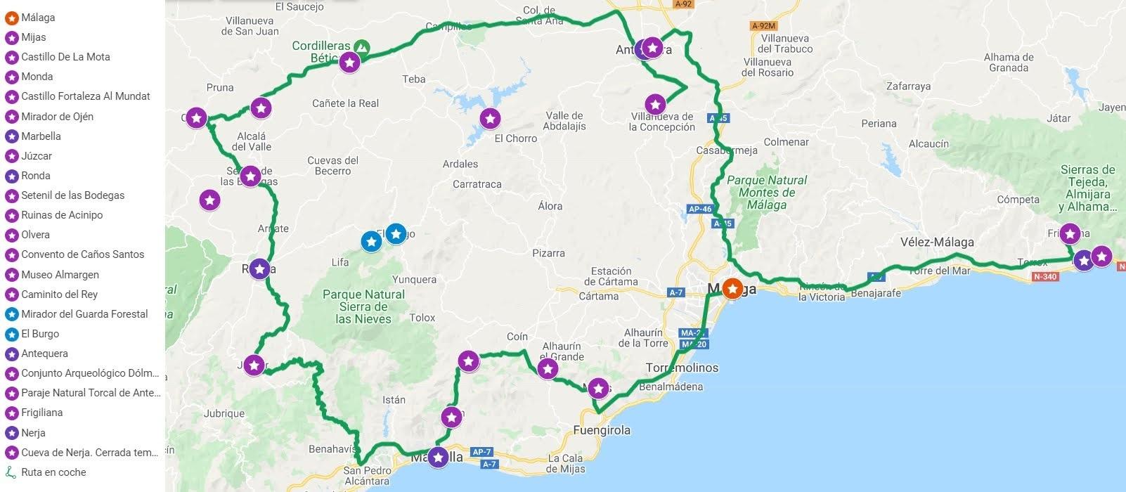 Mapa ruta en coche por Málaga