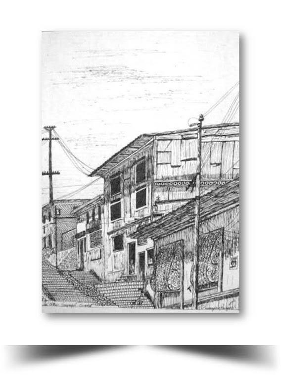 Guayaquil Antigu Las Escalinatas del Cerro Santana Obra del Artista Ecuatoriano Lalinchi Arreaga Burgos E.E.A.B
