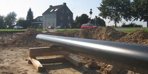 CO-Rohr Verlegung in Wohngebiet.