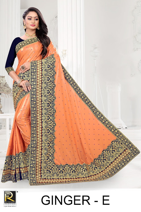 Buy Ronisha Ginger Latest Sarees Catalog Online Wholesaler L