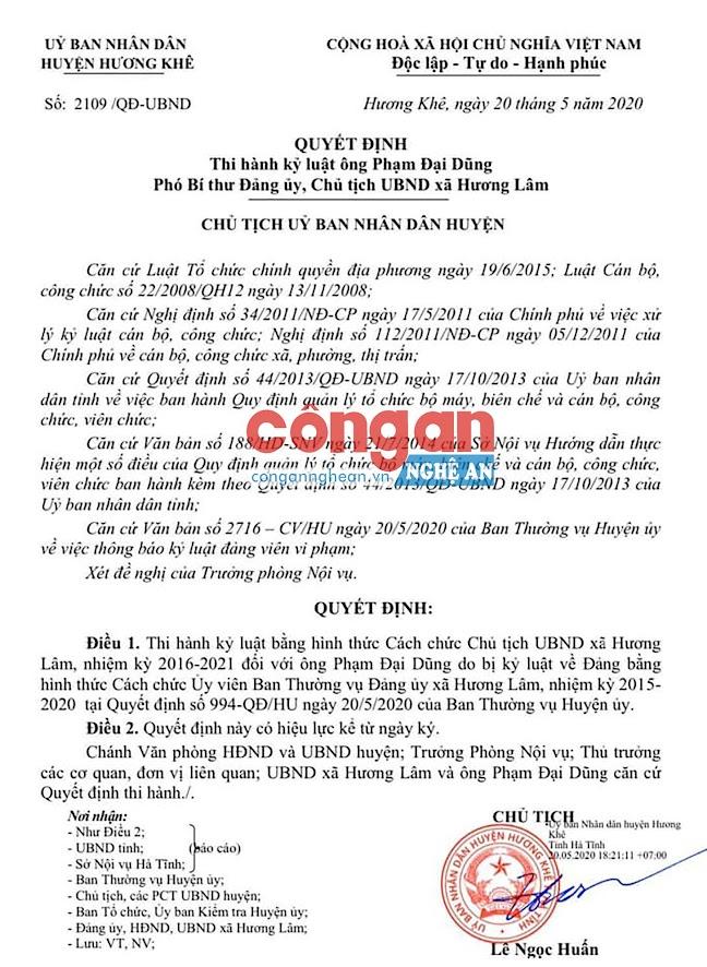 Quyết định thi hành kỷ luật của UBND huyện Hương Khê đối với ông Phạm Đại Dũng