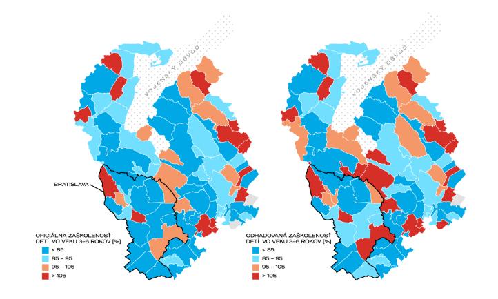 Obr. 3. Porovnanie oficiálnej a odhadovanej zaškolenosti detí vo veku 3 – 6 rokov v Bratislavskom samosprávnom kraji v roku 2021. Zdroj údajov: CVTI 2020, vlastný prieskum.