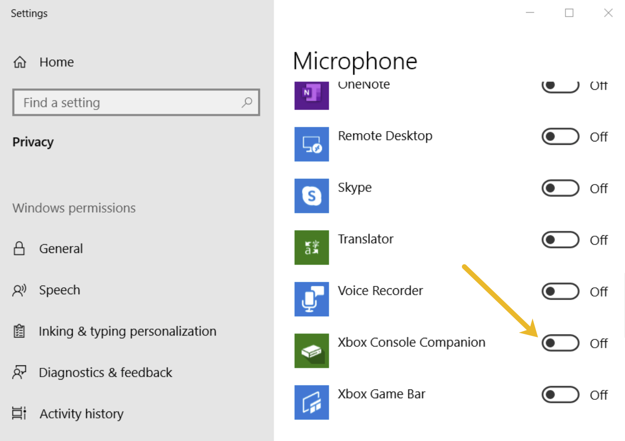 Make sure the microphone permissions for the Xbox Console Companion app set to On.