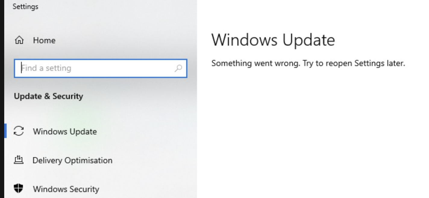 "Solved: How do I fix Windows Update ""Something Went Wrong. Try to reopen Settings later""?"