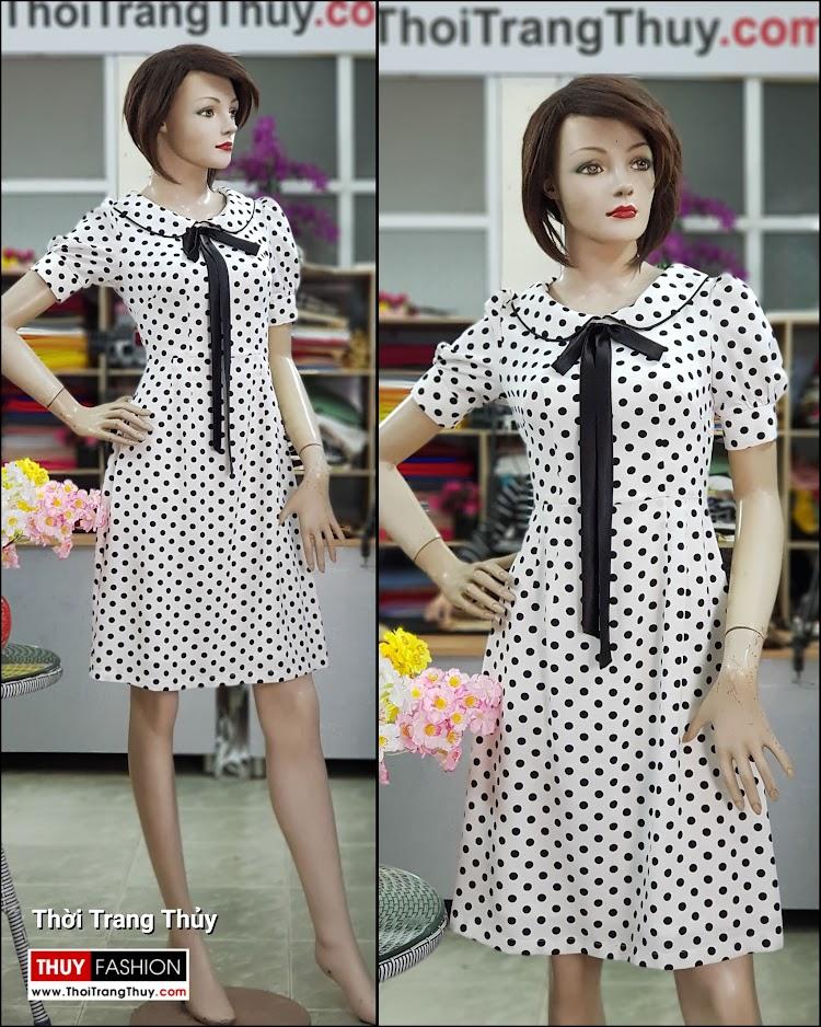 Váy xòe midi vải lụa chấm bi đen trắng dài qua gối V708 thời trang thủy hải phòng