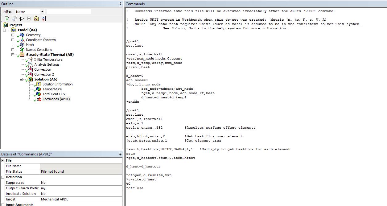 В модель Ansys Mechanical включена команда, которая рассчитает общий тепловой поток на внутренней стенке и запишет значение в текстовый файл с именем d_result