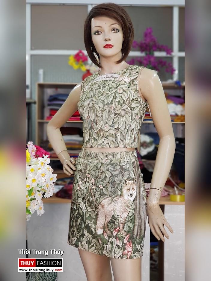 Bộ áo croptop và chân váy xòe chữ A họa tiết hoa lá V712 thời trang thủy sài gòn