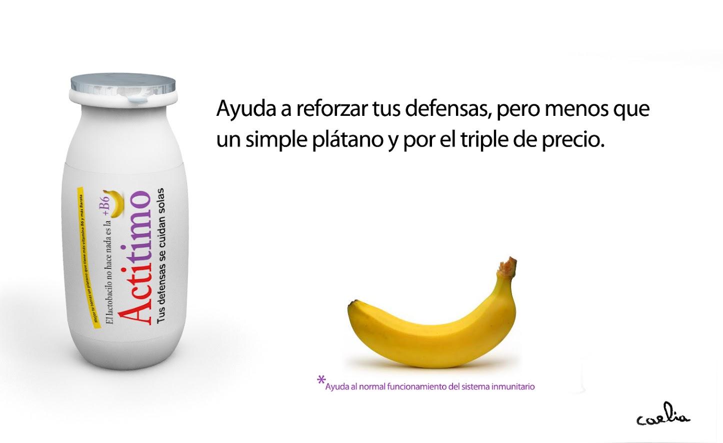 comparación actimel plátano