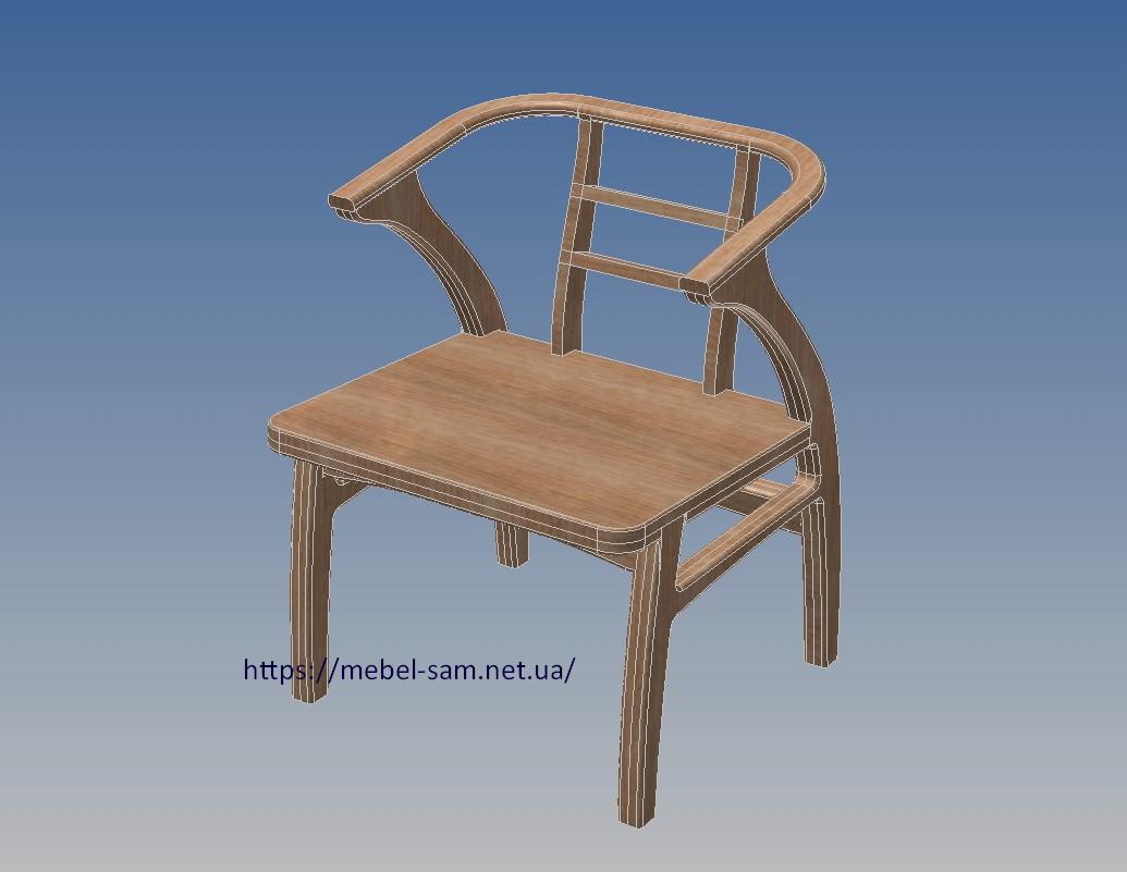 контуры кресла из фанеры - вид спереди