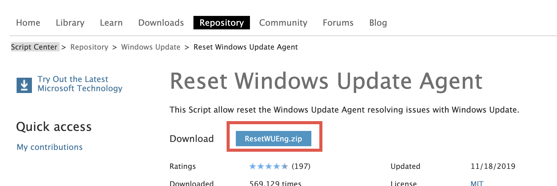 Click on the button labeled with ResetWUEng.zip to download the Reset Windows Update agent.