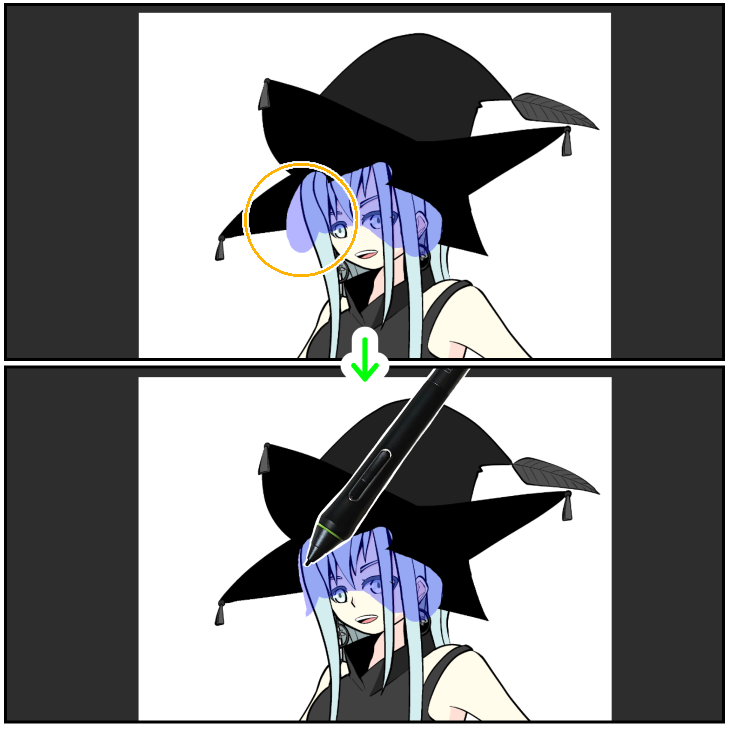クリスタのマスクを利用して合成(描画ツールで修正)