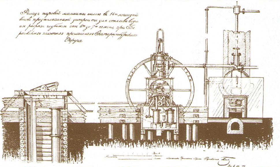 Паровой двигатель на уральских промыслах.