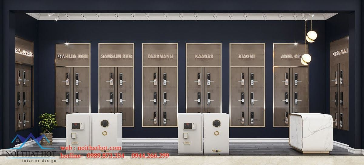 thiết kế gian hàng bán khóa cửa