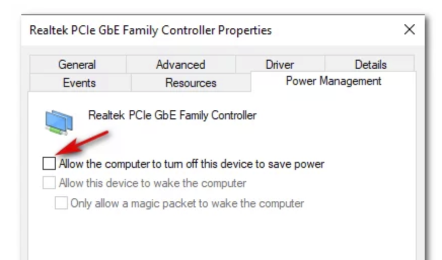 Go to the Power Management tab and uncheck the box beside Allow the computer to turn off this device to save power.