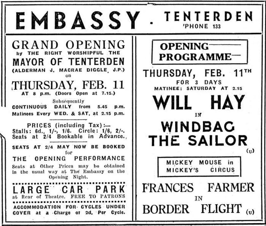 Embassy Cinema Tenterden opened 11 February 1937