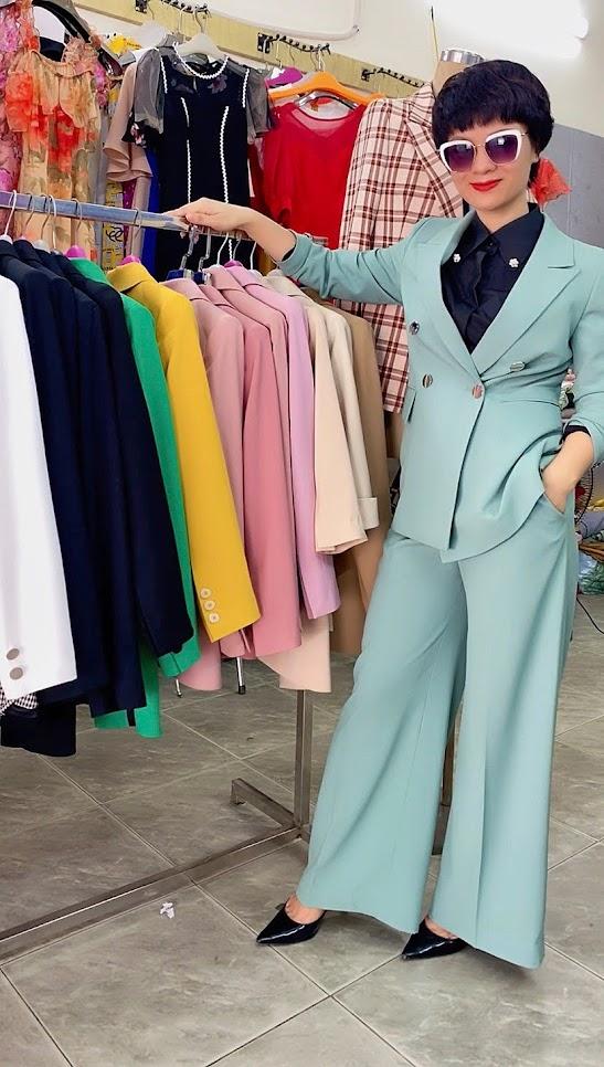 Áo vest nữ mix đồ quần ống suông màu xanh V726 thời trang thủy 1
