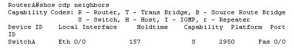 You issue the show cdp neighbors command and get the following output.