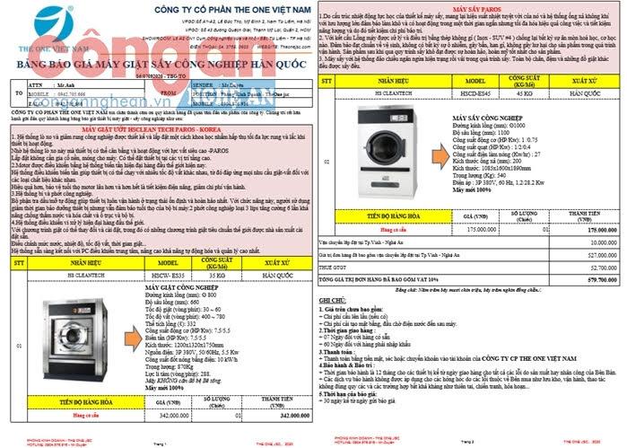 Báo giá thiết bị máy giặt, máy sấy cùng loại do The One Việt Nam cung cấp cho PV.