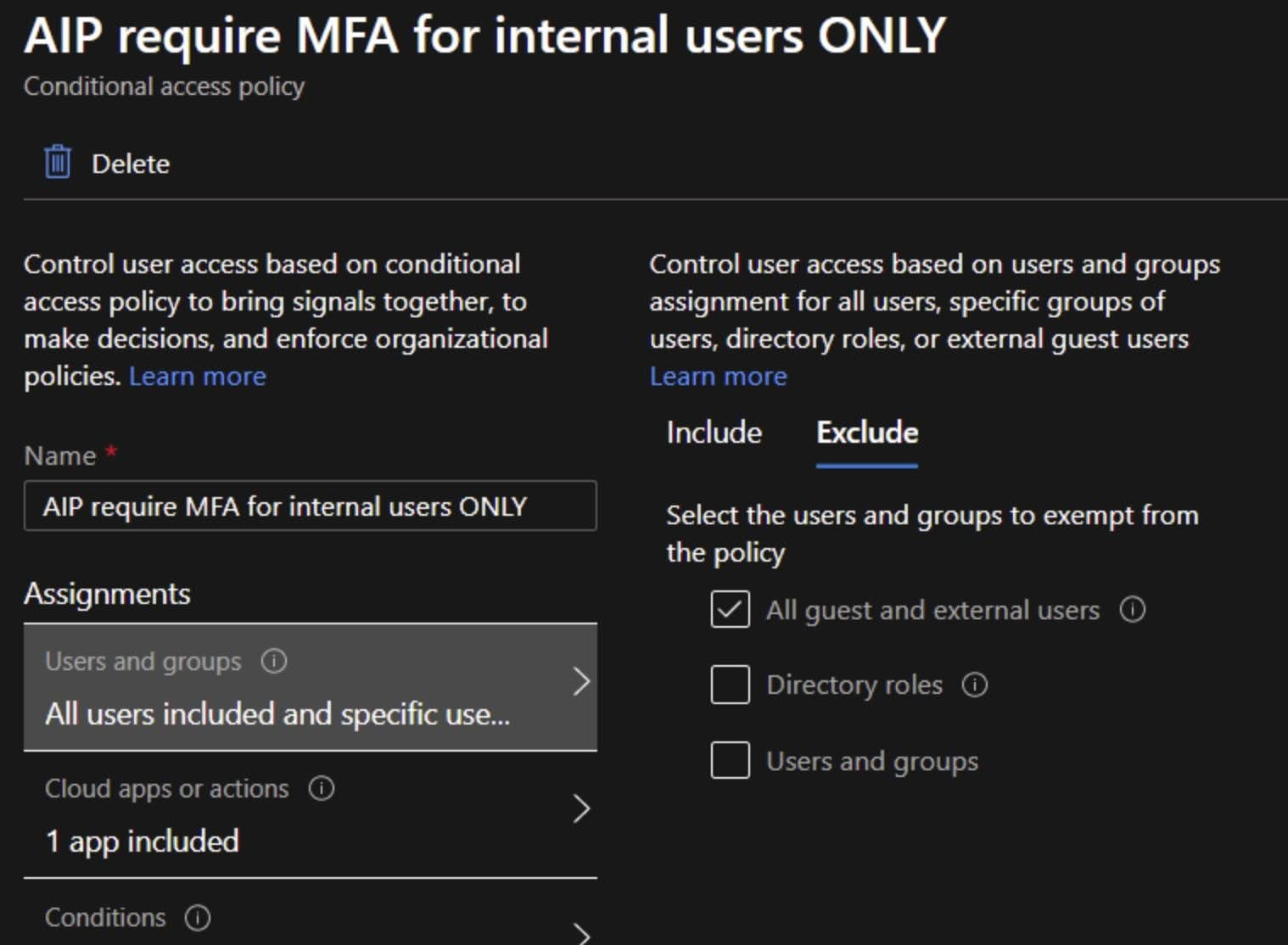 Under the Assignments > Users and groups > Exclude for All guest and external users.