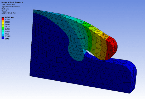 окончательная деформированная форма при приложении к верхней грани полной величины давления
