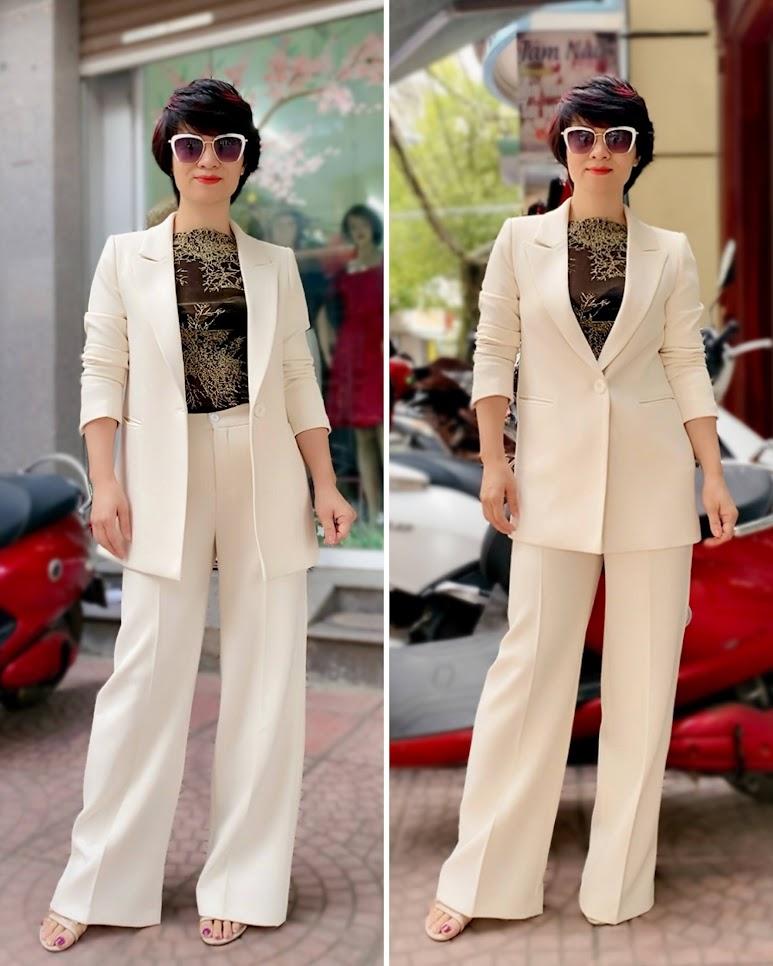 Áo vest nữ dáng suông và quần suông ống rộng V745 thời trang thủy ở hà nội