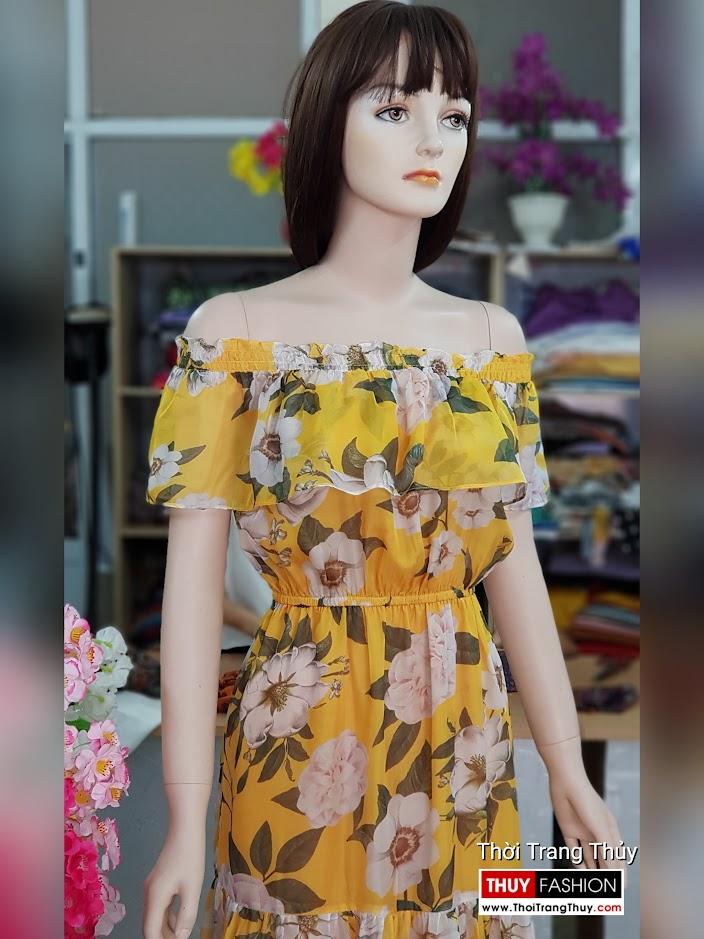 Váy maxi hoa vàng mặc đi biển dự tiệc thời trang thủy sài gòn