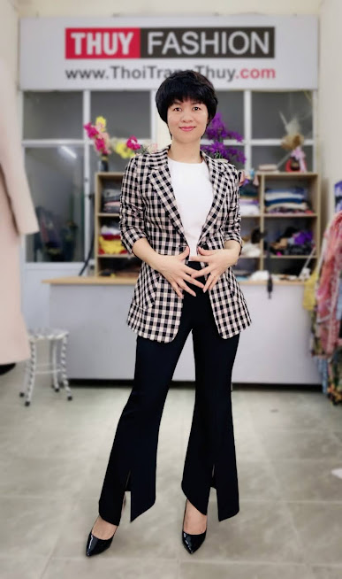 Áo vest nữ kẻ caro mix đồ quần ống vấy màu đen trắng V738 thời trang thủy hải phòng 3