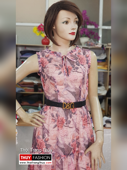 Váy xòe midi sát nách hoa mặc đi biển dự tiệc V725 thời trang thủy đà nẵng