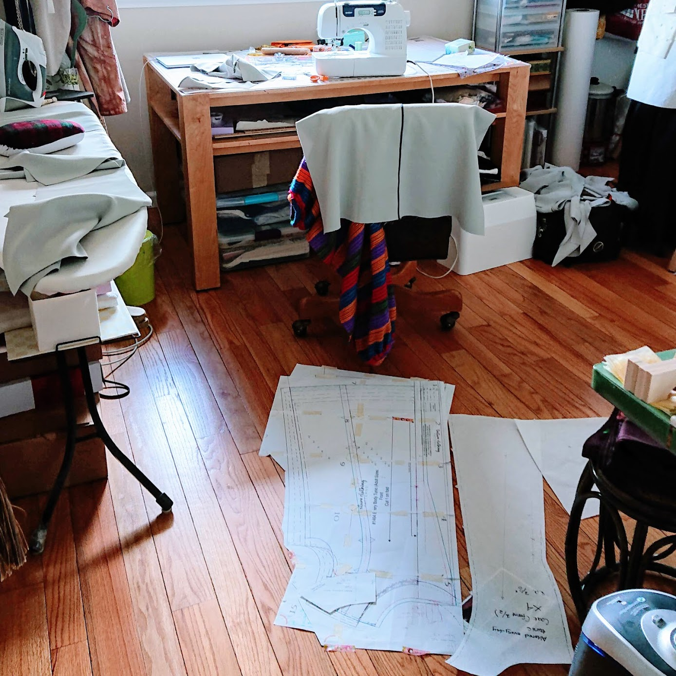 State of sewing room during Sleeveless Coat pattern making | Fafafoom Studio