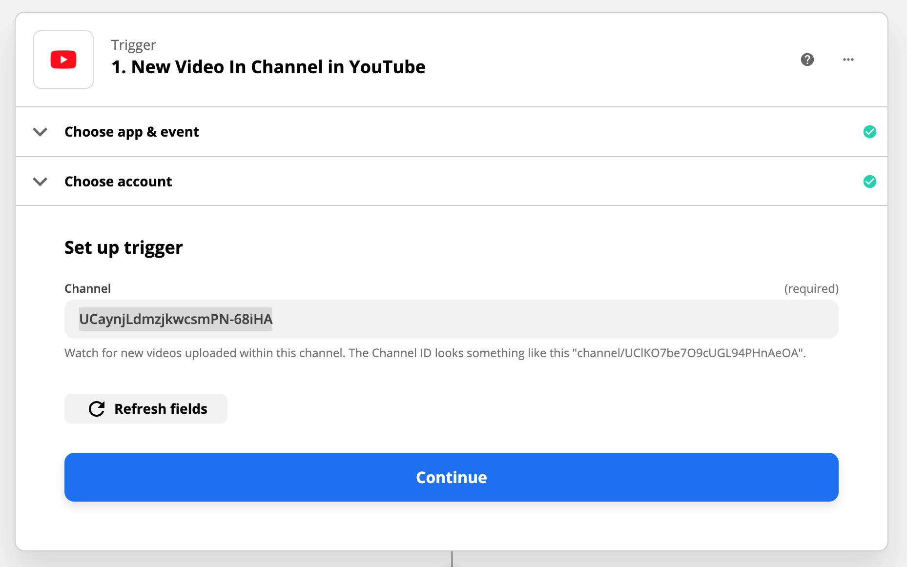 Connect Youtube Account ID that I want to watch using Zapier