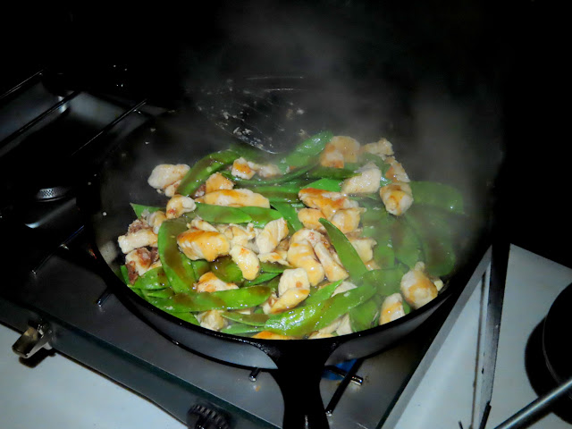 Orange chicken and snow peas for dinner