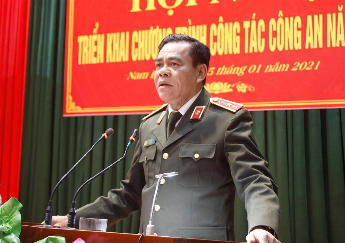 Đồng chí Thiếu tướng Võ Trọng Hải, Giám đốc Công an tỉnh phát biểu chỉ đạo tại Hội nghị