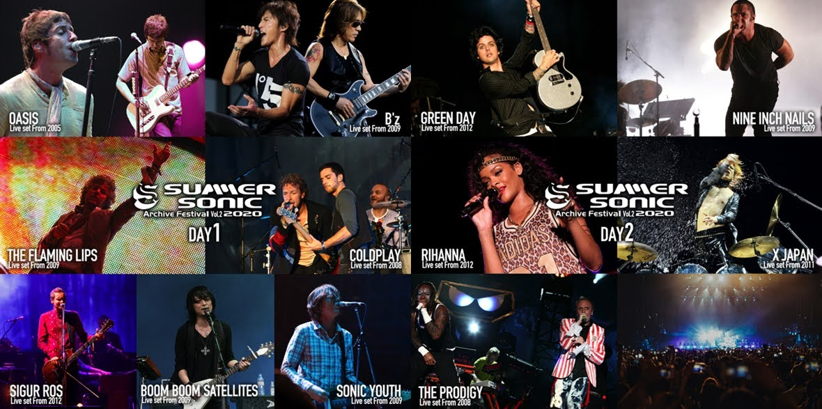 Summer Sonic 線上音樂祭再開 COLDPLAY  、 OASIS、sigur ros 、X JAPAN 、 Green Day 、 Nine Inch Nails 、 Rihanna …