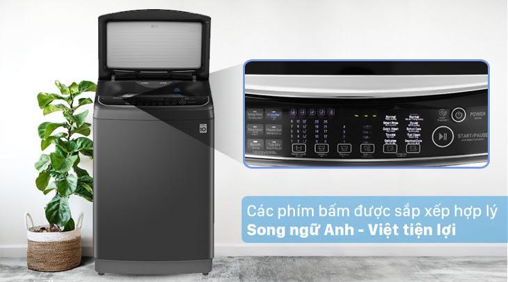 máy giặt cửa trên LG TH2111SSAB có bảng điều khiển được sắp xếp hợp lý