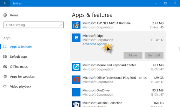 Advanced options of Microsoft Edge