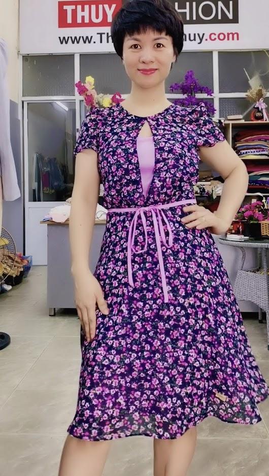 Váy xòe cổ tròn họa tiết hoa màu tím V727 thời trang thủy sài gòn