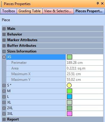Piece Properties Trong Optitex 5
