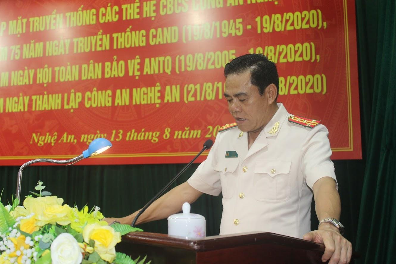 Đại tá Võ Trọng Hải, Ủy viên BCH Đảng bộ, Ban thường vụ Tỉnh ủy, Bí thư Đảng ủy, Giám đốc Công an tỉnh phát biểu tại hội nghị
