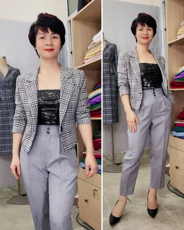 Áo vest nữ dáng ngắn ngang eo kẻ caro V746 thời trang thủy ở thái bình