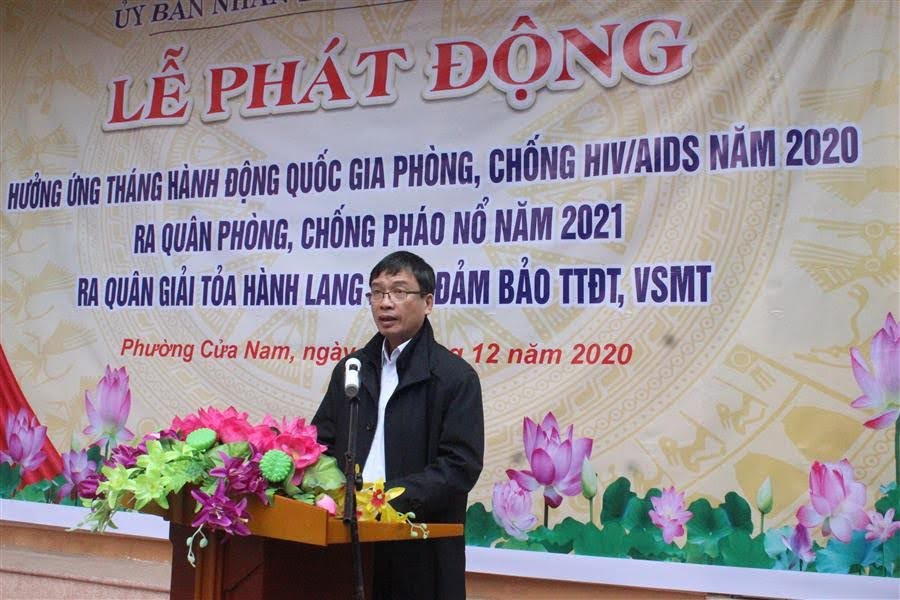 Đồng chí Trần Văn Trí, Chủ tịch UBND phường Cửa Nam phát biểu