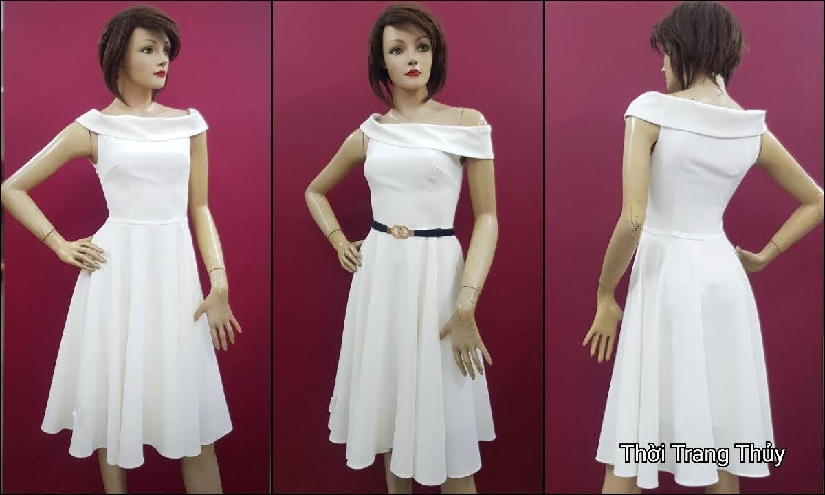 Váy xòe dự tiệc hở vai màu trắng V706 thời trang thủy hải phòng