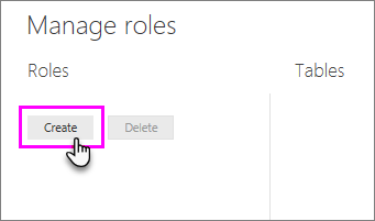 Create button from Manage roles