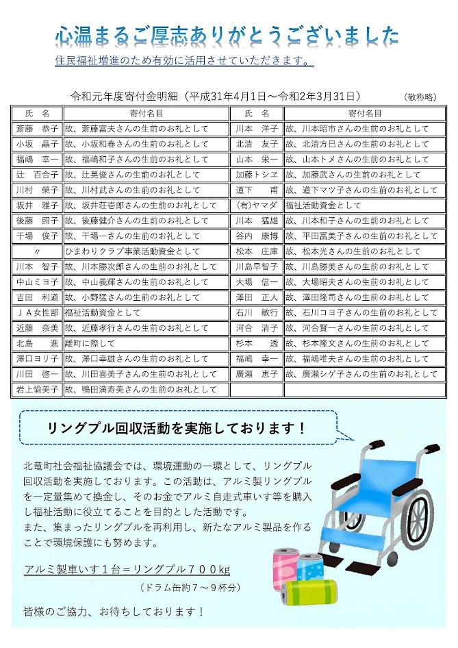 北竜町社協だより『ほほえみ』64号(2020年8月1日)